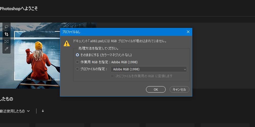 カラープロファイルのダイアログ
